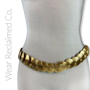 VINTAGE 70s Gold Tone Metal Coin Stretch Belt